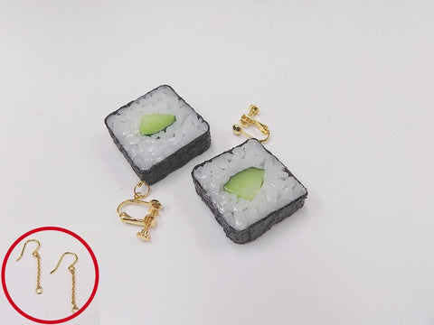 Cucumber Roll Sushi Pierced Earrings