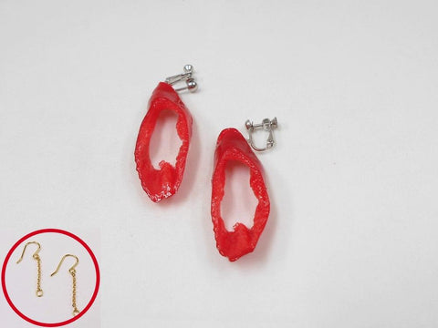 Cut Red Chili Pepper Pierced Earrings