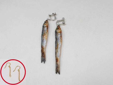Dried Sardine (small) Pierced Earrings