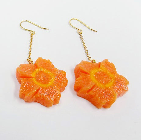 Flower-Shaped Carrot Ver. 2 Pierced Earrings