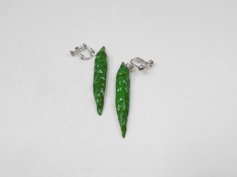 Green Chili Pepper (mini) Clip-On Earrings