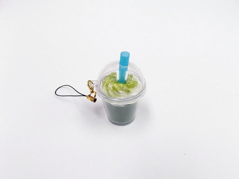 Green Tea (Matcha) with Whipped Cream (mini) Cell Phone Charm/Zipper Pull