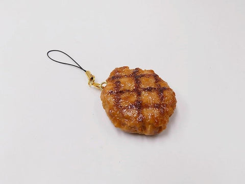 Hamburger Patty with Grill Marks Cell Phone Charm/Zipper Pull