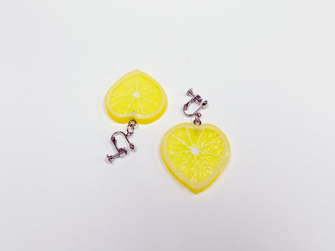 Lemon Slice (Heart-Shaped) Clip-On Earrings