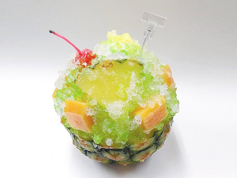 Pineapple Kakigori (Snow Cone/Shaved Ice) with Melon Sauce Replica