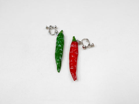 Red & Green Chili Pepper (mini) Clip-On Earrings