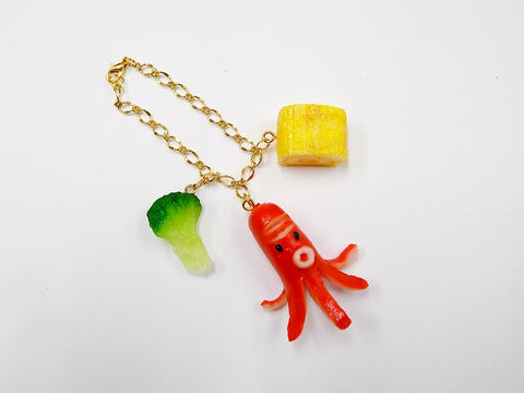 Sausage (Octopus-Shaped), Fried Egg (mini) & Broccoli (small) Bag Charm