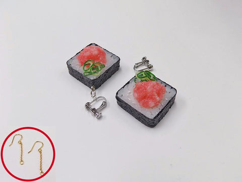 Scallion & Tuna Roll Sushi Pierced Earrings