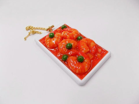 Stir-Fried Shrimp with Chili Sauce Pass Case with Charm Bracelet