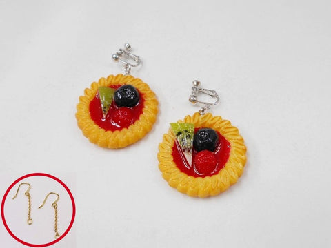 Strawberry Sauce-Filled Kiwi, Raspberry & Blueberry Cookie Pierced Earrings