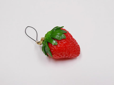 Strawberry with Stem Cell Phone Charm/Zipper Pull