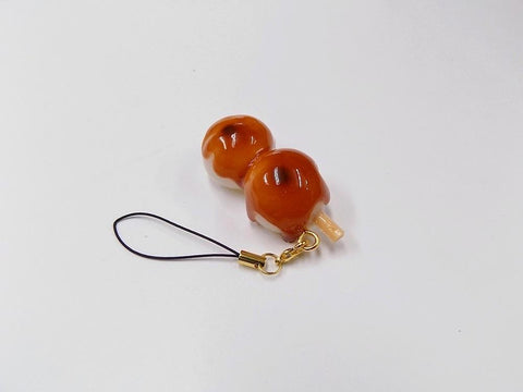Toasted Dumplings Covered in a Soy & Sugar Sauce (2-piece with Skewer) Cell Phone Charm/Zipper Pull