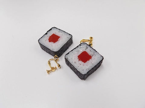 Tuna Roll Sushi Clip-On Earrings