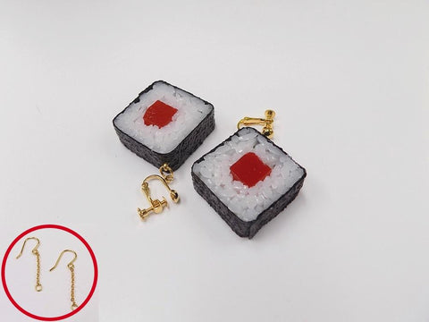 Tuna Roll Sushi Pierced Earrings