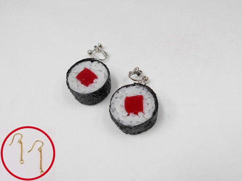 Tuna Roll Sushi (round) Pierced Earrings