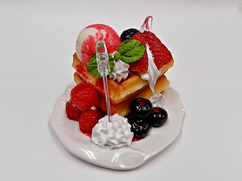 Waffles Topped with Berries, Ice Cream & Whipped Cream Small Size Replica