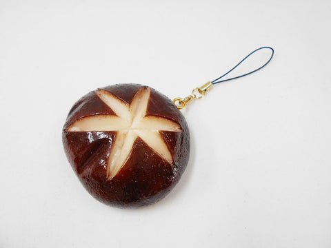 Whole Shiitake Mushroom Cell Phone Charm/Zipper Pull