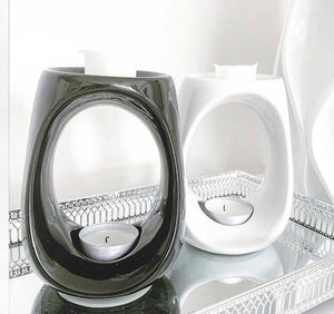 Cairo ceramic wax melt burner. High gloss black or white