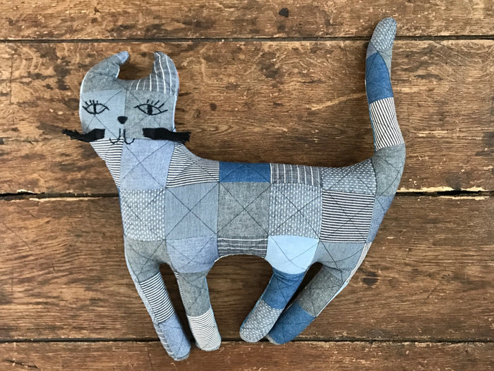 Patchwork Pillow | Denim Kitty
