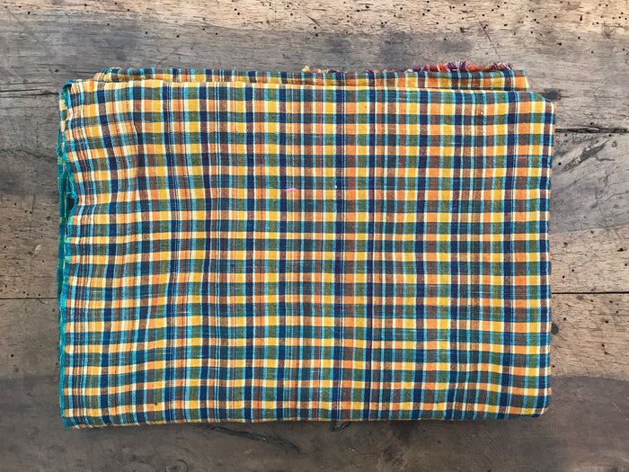Cotton Lungi Shawl | Yellow Check