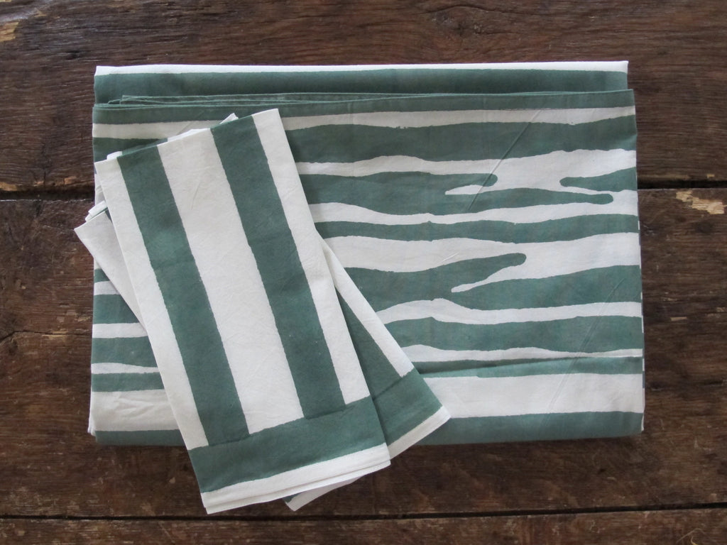 Kerry Cassill Cotton Tablecloth | Green Stripe