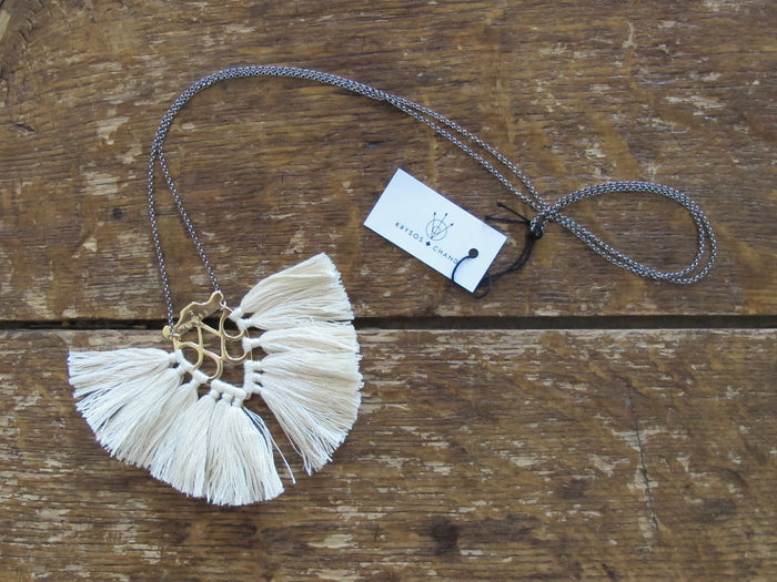 Krysos + Chandi Necklace | Jya Tassel Cream