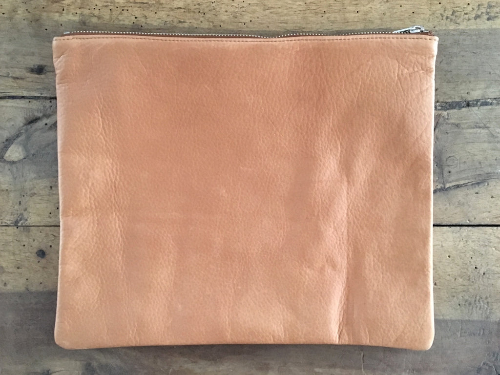 BAGGU Leather Pouch | Large Saddle