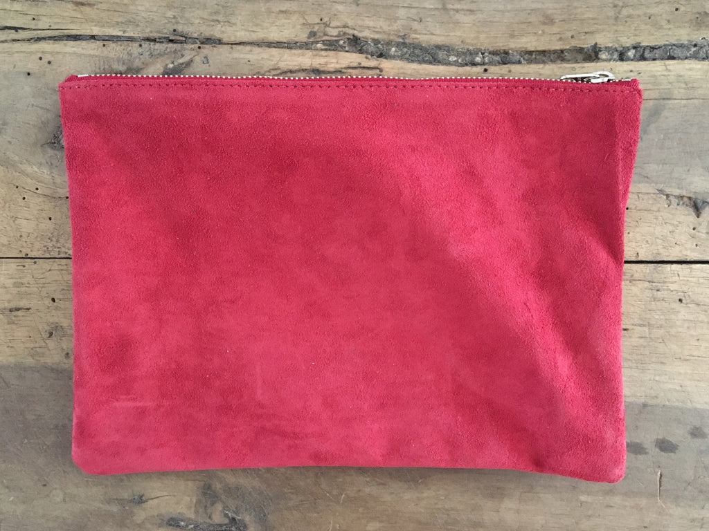 BAGGU Flat Leather Pouch | Medium Ruby