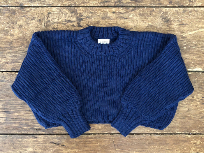 Crop Crew Sweater | Lapis