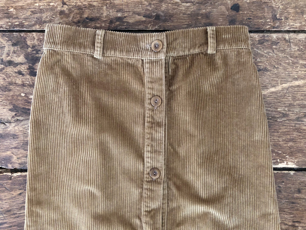 Buttoned Skirt | Camel Corduroy