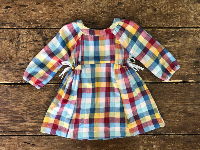 Side-Tie Dress | Rainbow Check