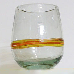 Blown Glass Round Tumbler with Orange Stripe