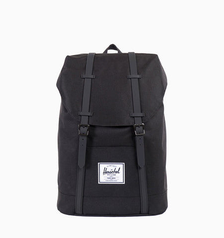 "Retreat 15"" Laptop Backpack - Black/Black PU"