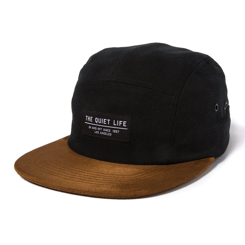 Cord 5 Panel Cap - Black / Rust