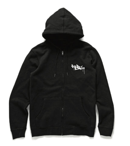 Embroidered Zip Hood - Black