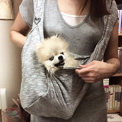 DOG CARRIER A HANDSFREE ERGONOMIC FITTED TRAVEL PET SLING WITH CLIP