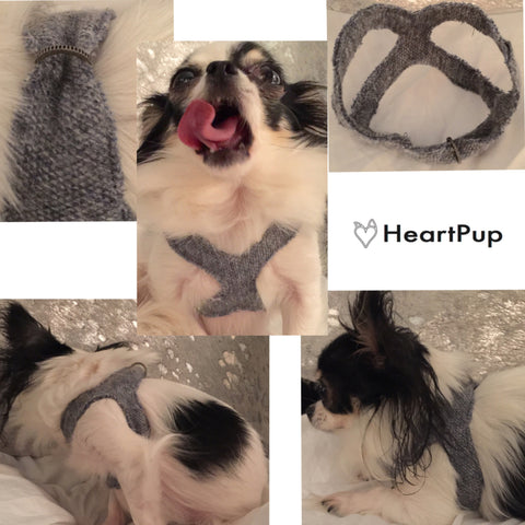 Cashmere and Wool Fabric Dog Harness Custom Fit over the head Step In style