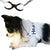 DOG HARNESS LEATHER BLACK AND WHITE ADJUSTABLE STEP IN