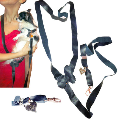 Hands free Soft Comfy Knit Adjustable and leather dog leash