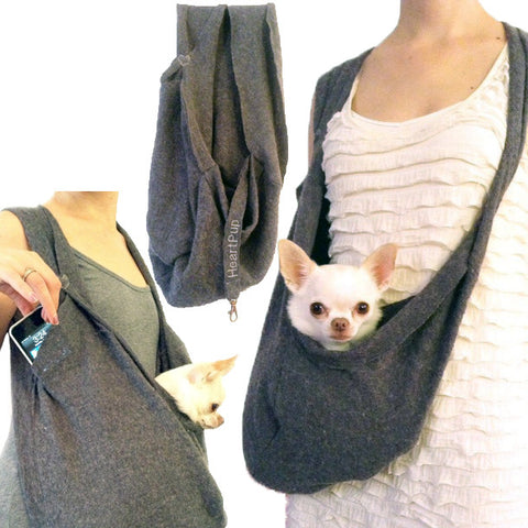 LUXURIOUS HEARTPUP GRAY POCKET DOG CARRIER on SHARK TANK by HEART PUP