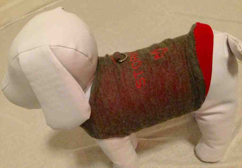 SWEATER PEEKABOO RED STORMY GREY CASHMERE D-RING DOG SWEATER by HEARTPUP