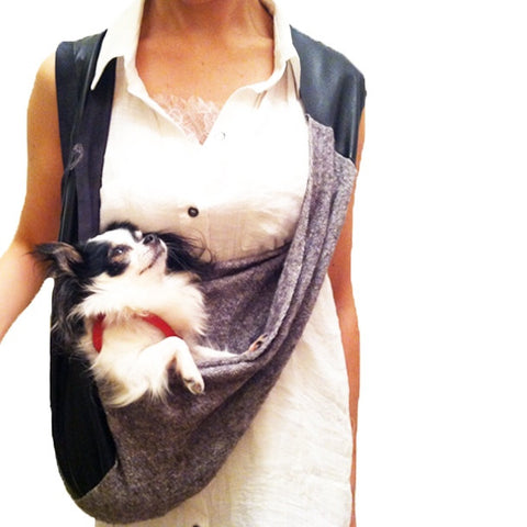 Leather Soft Drape Light Heather Grey Tweed Knit Dog Carrier