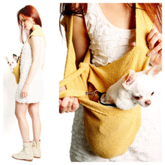 LUXURIOUS HEARTPUP YELLOW POCKET DOG CARRIER on SHARK TANK by HEART PUP
