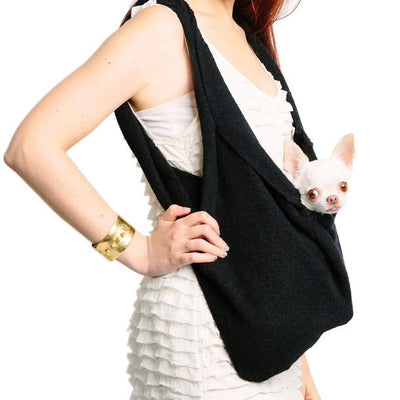 UNISEX LUXURIOUS HEARTPUP BLACK POCKET DOG CARRIER on SHARK TANK by HEART PUP