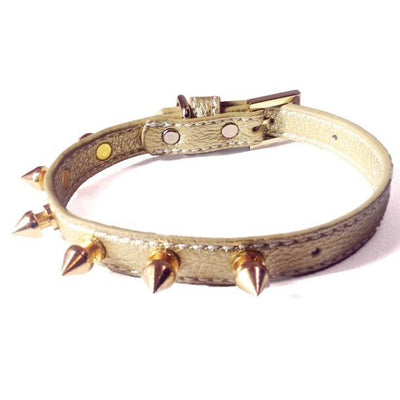 Heartpup leather and gold studded heart dog collar