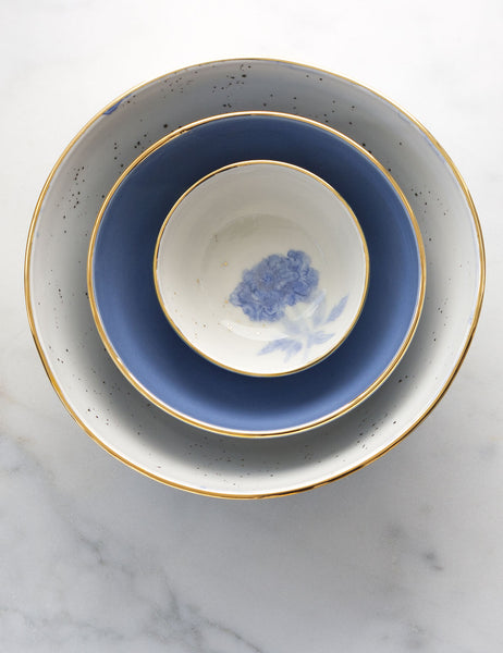 Painted Bowl Collection: Large Nested Trio in Watercolor Blues with Gold #1