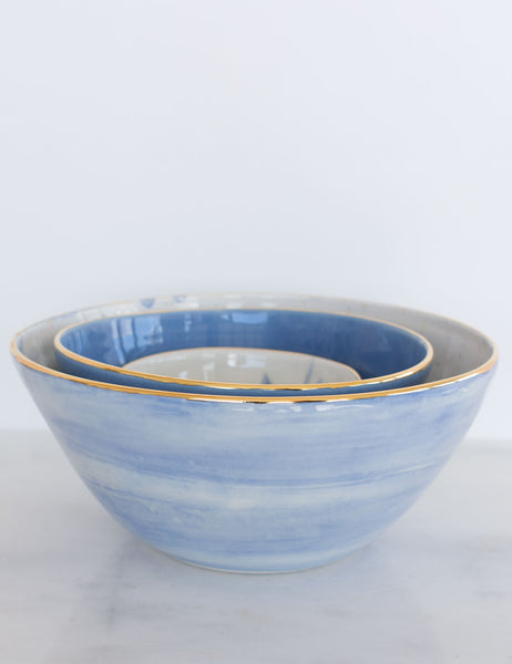 Painted Bowl Collection: Large Nested Trio in Watercolor Blues with Gold #3