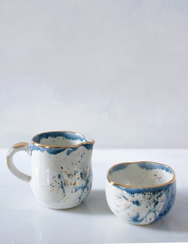 Cream and Sugar Set Teal Cobalt and Gold Splatters