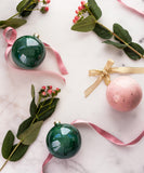 Made to Order: Bauble Ornament in Rose Watercolor with Gold Splatters