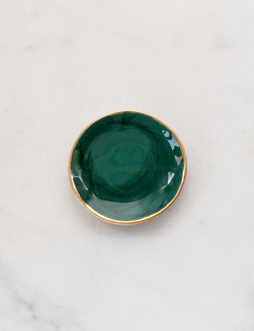 Ring Dish in Malachite Swirl and Gold Rim